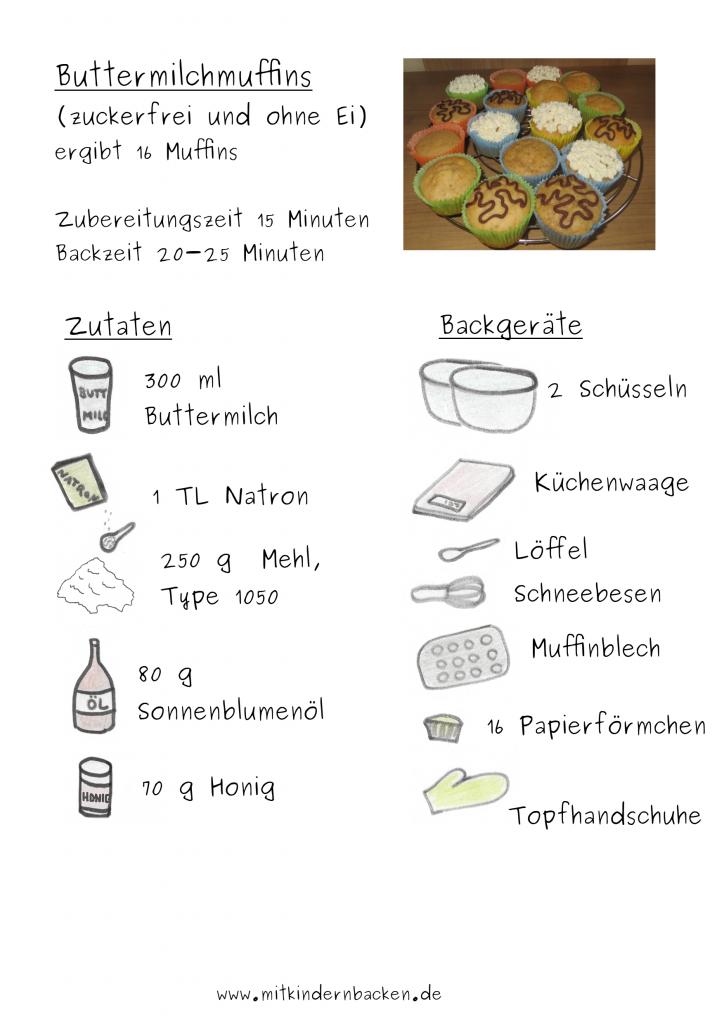Zutaten für zuckerfreie und eifreie Buttermilchmuffins