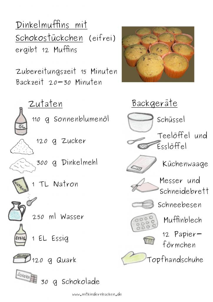 Zutaten, die für eifreie Dinkelmuffins mit Schokostückchen gebraucht werden