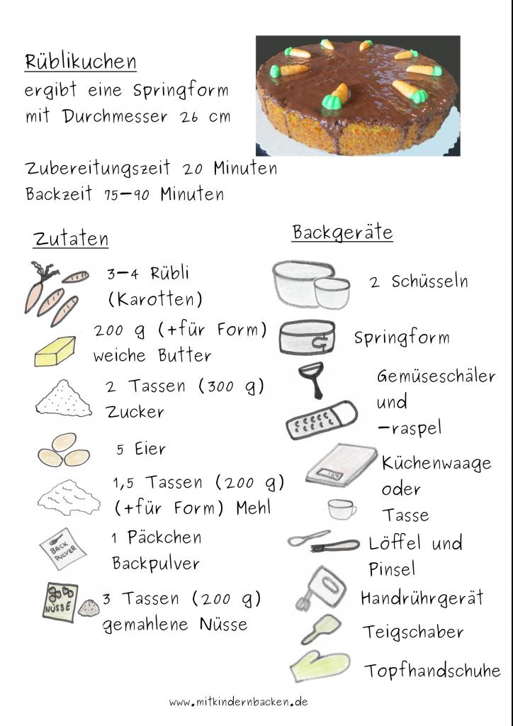 Zutaten für einen Karottenkuchen