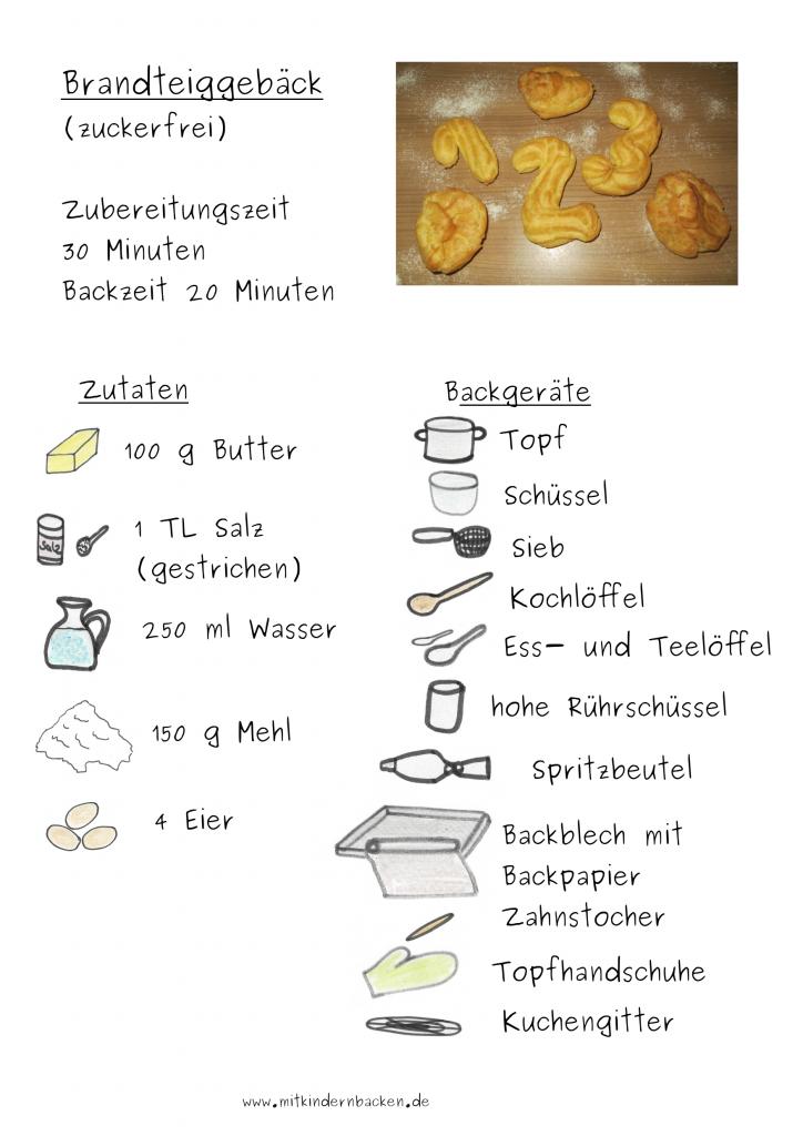 Zutaten für Brandteiggebäck, Windbeutel,... ohne Zucker