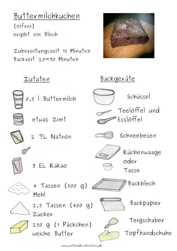 Zutaten für Buttermilchkuchen ohne Ei, Tassenkuchen Blechkuchen