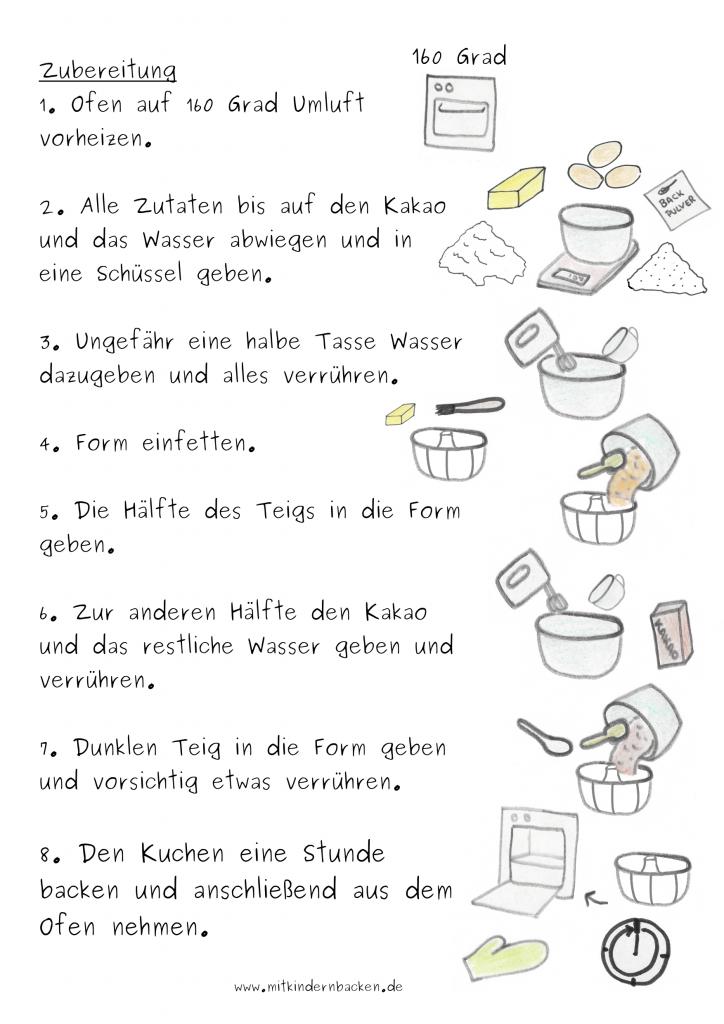 Marmorkuchen Rezept Zubereitungsschritte