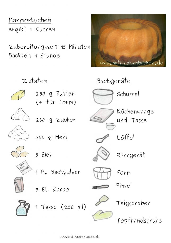 Marmorkuchen Rezept Zutaten