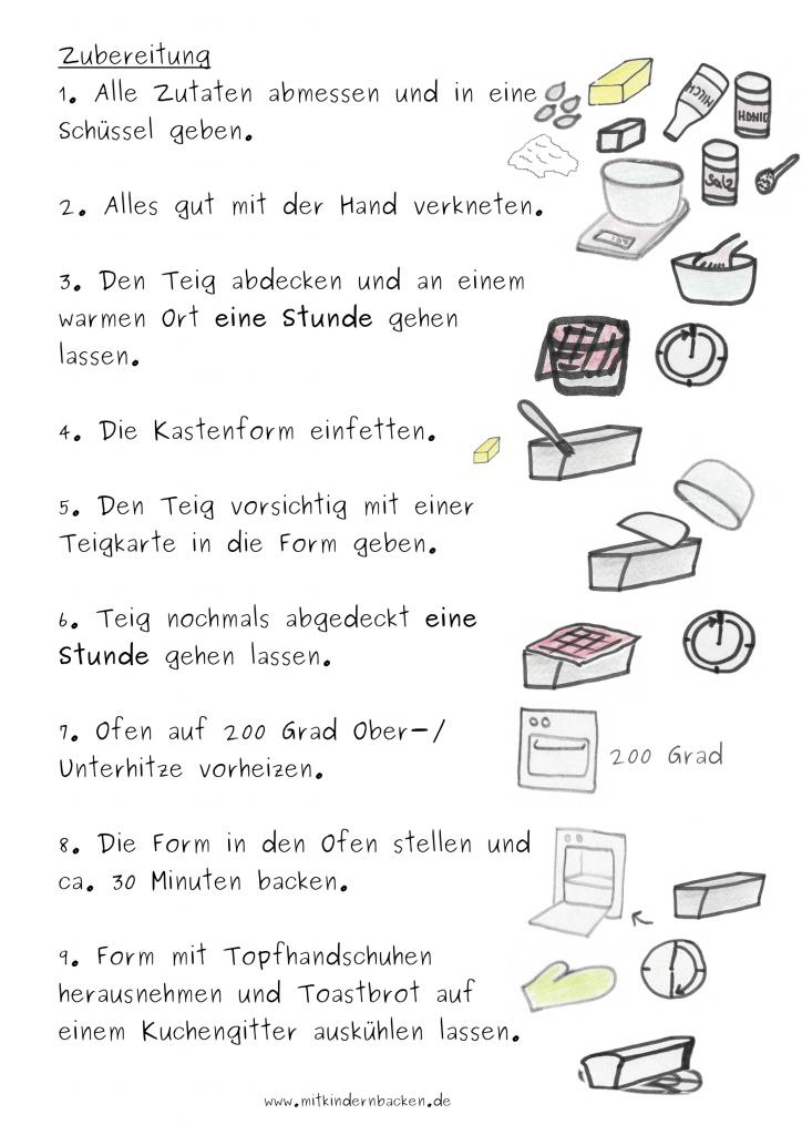 Zubereitungsschritte für Toastbrot