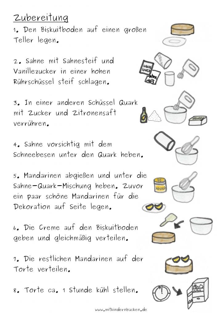 Zubereitungsschritte  für Käse-Sahne-Torte mit Mandarinen ohne Backen und ohne Gelatine