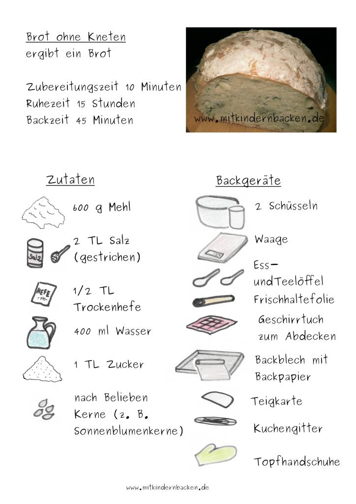 Zutaten für Brot ohne Kneten Ciabatta