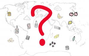 Weltkarte mit Zutaten zum Backen, Woher kommen die Zutaten