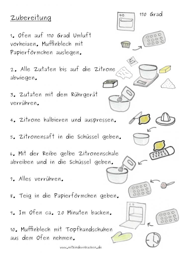 Rezept für Zitronenmuffins ohne Ei - Zubereitungsschritte