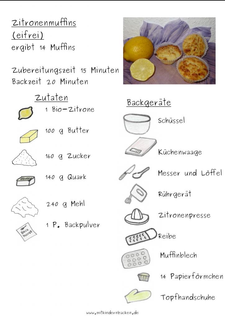 Rezept für Zitronenmuffins  ohne Ei - Zutatenliste