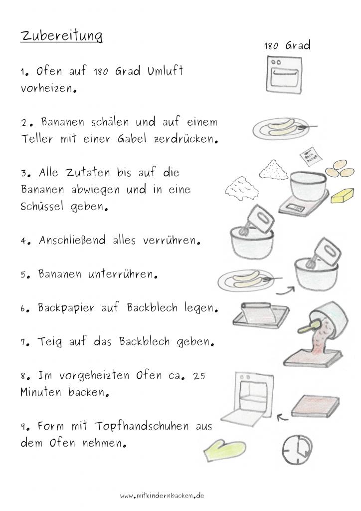 Zubereitungsschritte für schnellen Bananenkuchen Blechkuchen