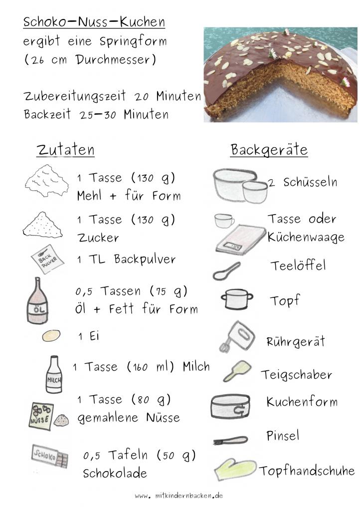 Zutaten für Schoko-Nuss-Kuchen