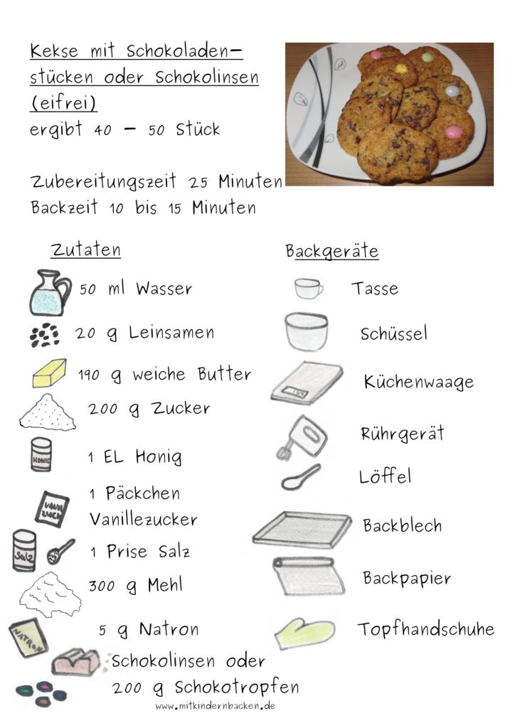 Zutaten für eifreie Kekse mit Leinsamen und Schokolade