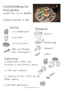Rezept für Frischkäsetopping für Ostercupcakes