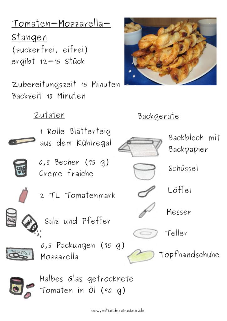 Zubereitung für Tomaten-Mozzarella-Stangen