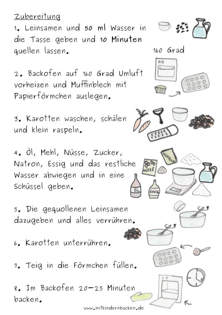 Zubereitungsschritte für vegane Rüblimuffins