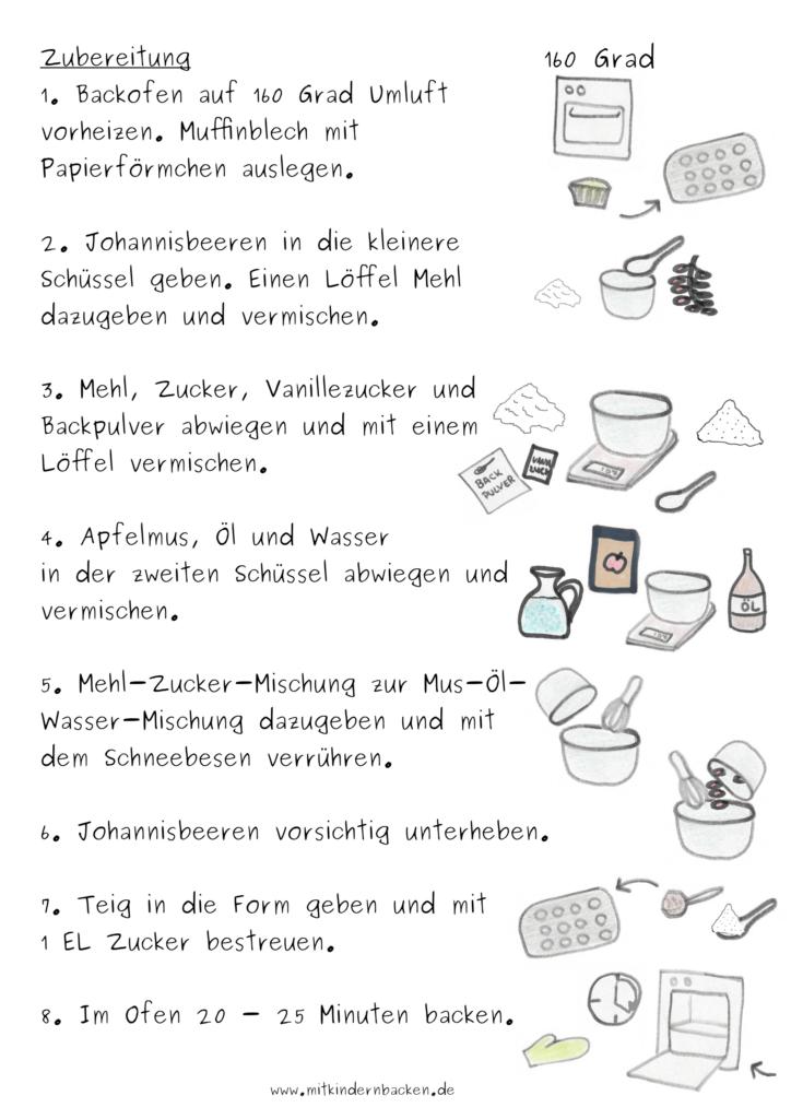 Zubereitungsschritte für vegane Johannisbeermuffins