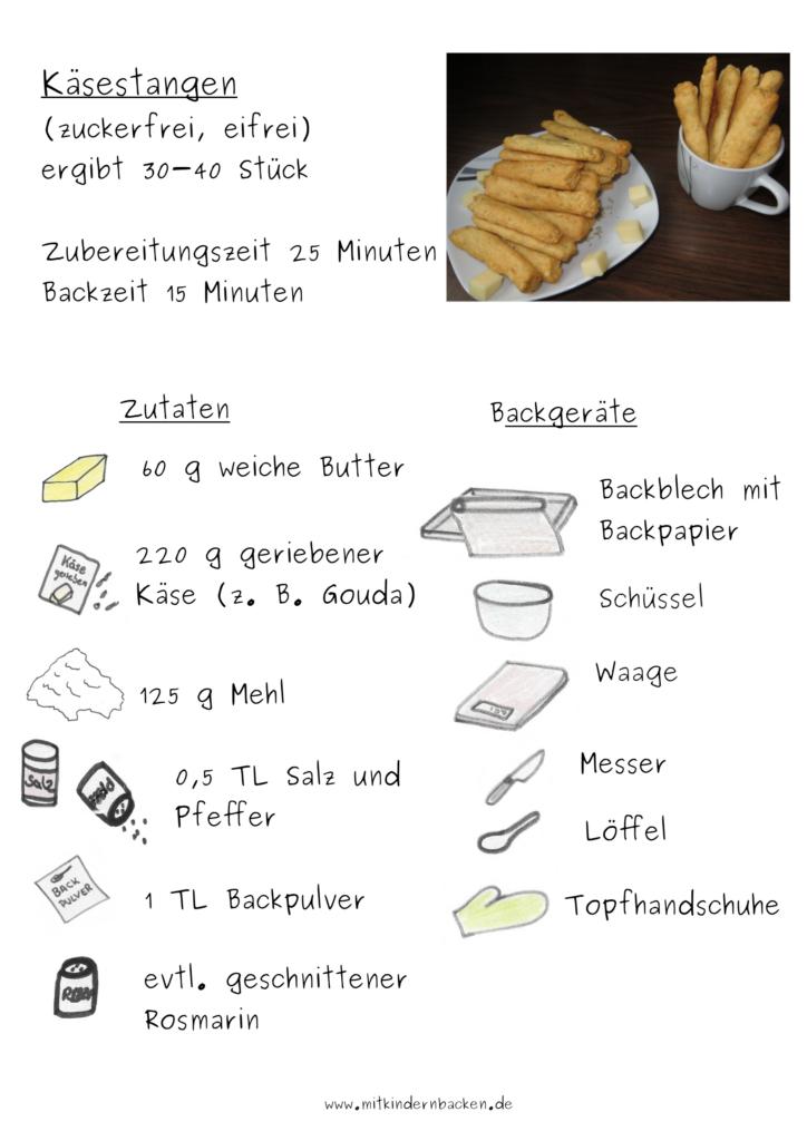 Zutaten für Käsestangen zuckerfrei eifrei