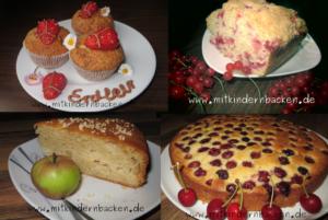 Erdbeermuffins, Johannisbeerkuchen, Apfelkuchen, Kirschkuchen