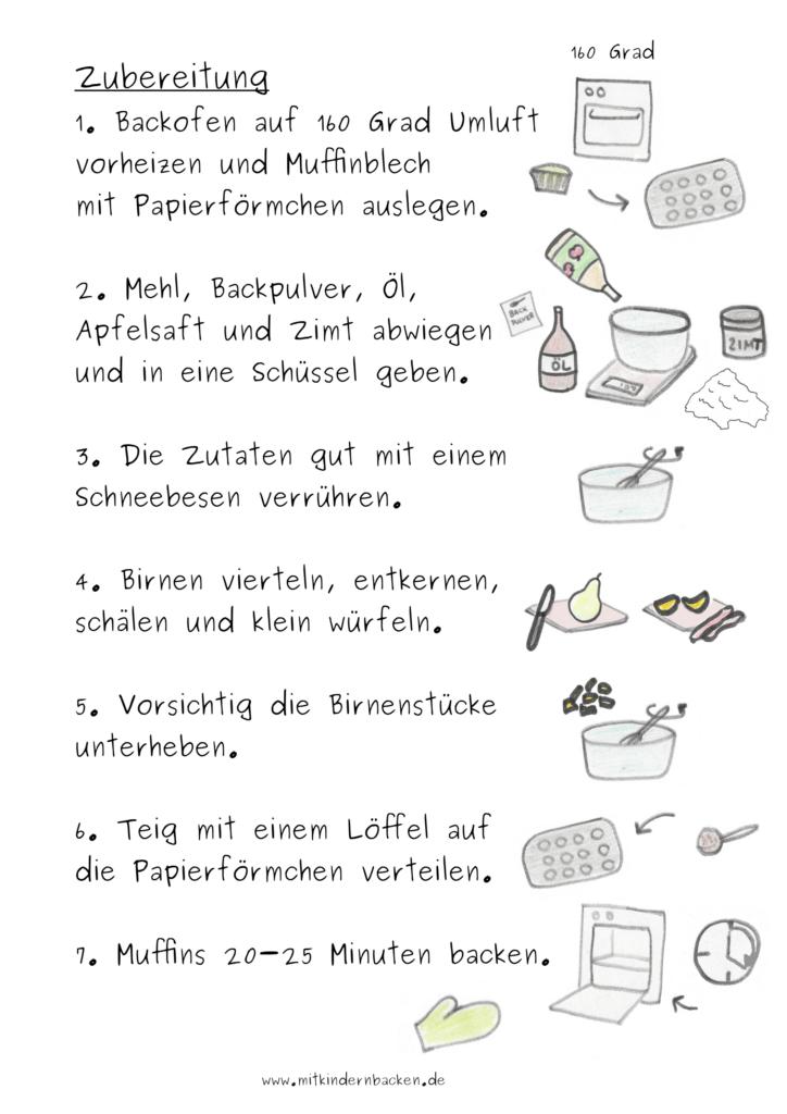 Zubereitung für vegane und zuckerfreie Birnenmuffins