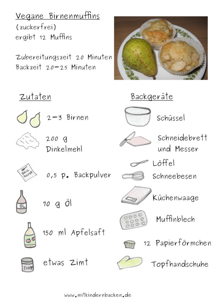 Zutaten für zuckerfreie vegane Birnenmuffins
